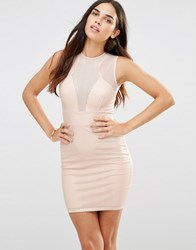 Tfnc Laser Cut Dress With Mesh Detail Pink