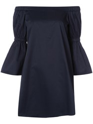 Tibi Off The Shoulder Mini Dress Women Cotton 6 Blue