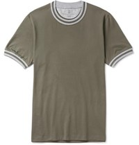 Brunello Cucinelli Slim Fit Stripe Trimmed Cotton Jersey T Shirt Green