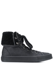 Lanvin Oversized Tongue High Top Sneakers Black