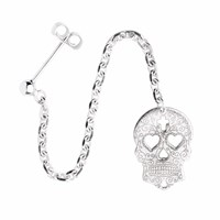 Cartergore Silver Sugar Skull With Heart Eyes Single Long Drop Earring