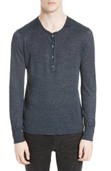 John Varvatos Men's Collection Linen Henley Sweater