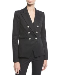 Veronica Beard Rue Peak Lapel Double Breasted Herringbone Blazer Navy