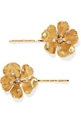 Jennifer Behr Haille Set Of Two Gold Tone Crystal Hair Slides One Size