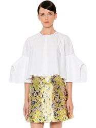 Delpozo Flared And Cropped Cotton Poplin Blouse