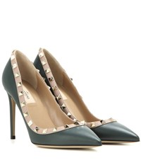 Valentino Rockstud Leather Pumps Green