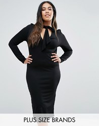 Club L Plus Midi Dress With Pussy Bow Tie Black
