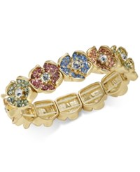 Charter Club Gold Tone Multicolor Pave Flower Stretch Bracelet Created For Macy's