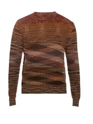 Missoni Long Sleeved Cotton And Linen Blend Knit Top Red Multi