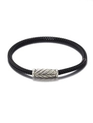 David Yurman Sterling Silver Chevron Woven Rubber Bracelet Black