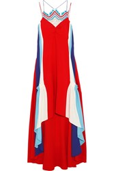 Peter Pilotto Asymmetric Crochet Trimmed Cady Gown Crimson