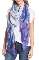 Nordstrom Women's Waterwash Tie Dye Scarf Purple Combo