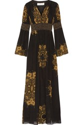 Rachel Zoe Blair Embellished Printed Crinkled Silk Chiffon Gown Black