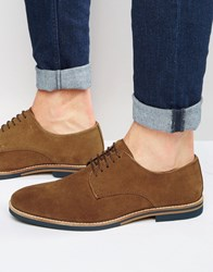 Asos Derby Shoes In Tan Suede With Coloured Sole Tan
