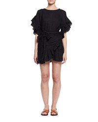 Etoile Isabel Marant Delicia Ruffle Trim Wrap Dress Black