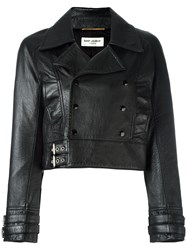 Saint Laurent Cropped Leather Biker Jacket Black