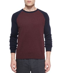 Vince Cashmere Blend Flecked Tee Wine Red