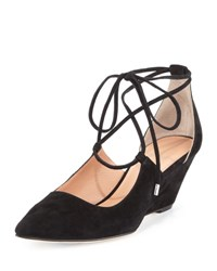 Sigerson Morrison Wynne Lace Up Suede Wedge Pump Black
