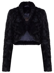 Phase Eight Katya Faux Fur Jacket Blue Black