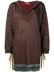 Missoni Deep V Neck Hooded Sweater Red