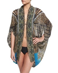 Camilla Open Front Printed Silk Cardigan Cape Coverup Rapturous