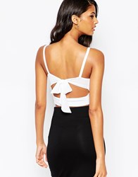 Asos Crop Top With Tie Back And Plunge Neck White