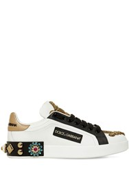 Dolce And Gabbana 20Mm Portofino Beaded Leather Sneakers White