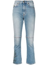 Mr And Mrs Italy Embroidered Cropped Jeans Blue
