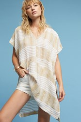 Anthropologie Dolman Striped Linen Tunic Neutral Motif