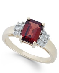Macy's Garnet 2 3 8 Ct. T.W. And Diamond 1 5 Ct. T.W. Ring In 14K Gold Yellow Gold