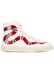 Gucci Kingsnake Motif Hi Top Sneakers Women Leather Rubber 36 Nude Neutrals