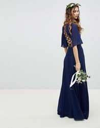 Tfnc Lace Up Back Maxi Bridesmaid Dress With Flutter Sleeve Navy