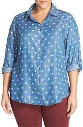 Foxcroft Plus Size Women's Polka Dot Chambray Roll Sleeve Shirt Medium Blue