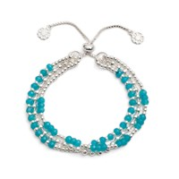 Azuni London Delia Three Strand Bracelet In Silver And Apatite