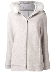 Woolrich Fur Trim Sweatshirt Nude And Neutrals