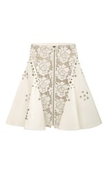 Rodarte Off White Laser Cut Leather Studded A Line Skirt