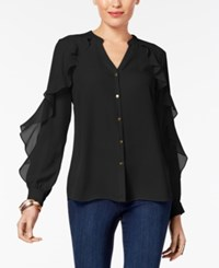 Thalia Sodi Ruffled V Neck Blouse Created For Macy's Deep Black