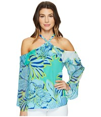Hale Bob Hot Topics Cold Washed Silk Georgette Shoulder Top Turquoise Women's Clothing Blue