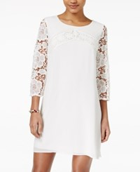 Sequin Hearts Juniors' Three Quarter Sleeve Lace Sheath Dress White