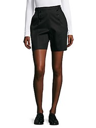Carven Solid Button Front Shorts Black