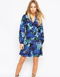 Needle And Thread Enchanted Floral Print Skater Dress With Bell Sleeve Elixirprint