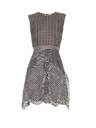 Preen Ellie Silk Georgette Gingham Dress Black White