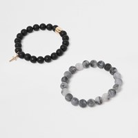 River Island Black Beaded Matte Bracelet Pack