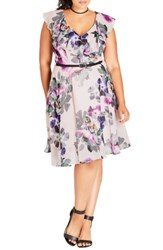 City Chic Plus Size Women's Romance Ruffle Floral Fit And Flare Dress Passion Floral