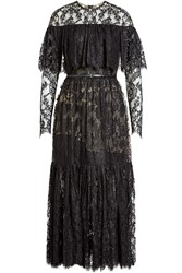 Elie Saab Lace Dress With Leather Belt Black