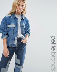 Waven Petite Patchwork Denim Jacket Indigo Blue