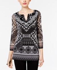 Inc International Concepts Embroidered Split Neck Top Only At Macy's Botto Patchwork