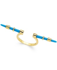 House Of Harlow Gold Tone Colorful Spike Open Ring Aqua