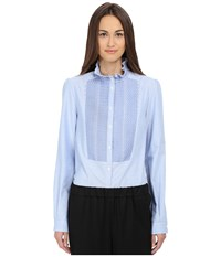 See By Chloe Oxford Smock Top Blue Women's Long Sleeve Button Up