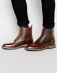 Peter Werth Lace Up Boots In Brown Leather Brown